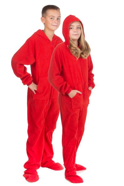 fe7435211330 Hoodie Footed Onesie Red Fleece Pajamas for Boys   Girls  Big Feet Onesie  Footed Pajamas