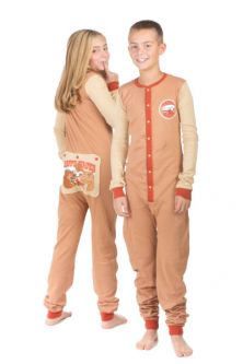 e05549f83 Kid's Union Suit Pajamas HAPPY CAMPER Bear & Moose on Butt Flap