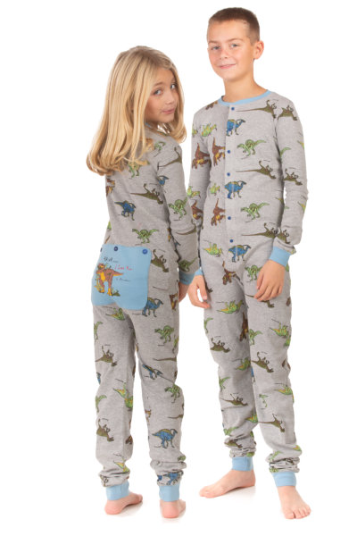 a95395c5d Dinosaur Union Suit Boys & Girls Onesie Pajamas T-Rex on Rear Flap, Kids