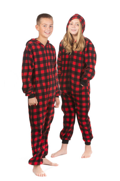 Hoodie Onesie Jumpsuit Pajama in Buffalo Plaid Fleece for Boys   Girls  Big  Feet Onesie Footed Pajamas 1fb42f57b