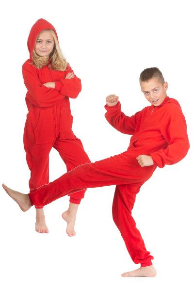 Hoodie Onesie Jumpsuit Pajama in Red Fleece for Boys   Girls  Big Feet  Onesie Footed Pajamas 1c29aa281
