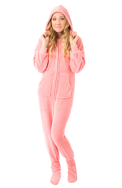Plush Adult Footed Pajamas With Hood In Pink Big Feet