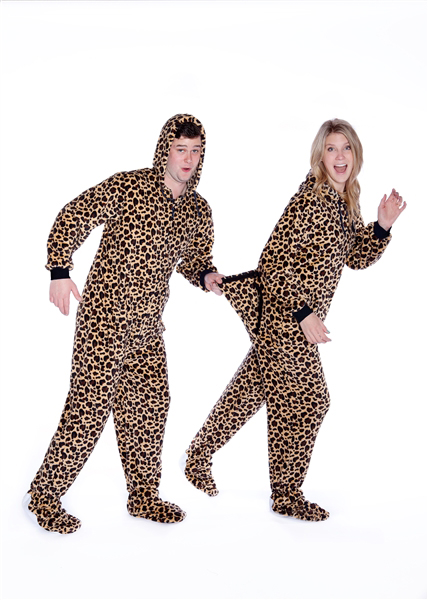 dd2792bf16 Plush Adult Footed Pajamas with Hood in Leopard Print  Big Feet Onesie  Footed Pajamas