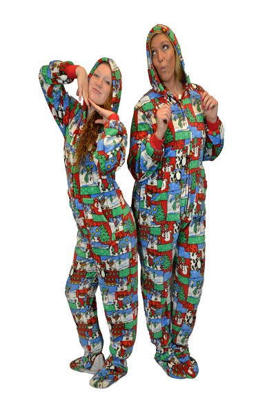 Winter Fun Adult Footed Pajamas with Hood: Big Feet Footed Onesie ...