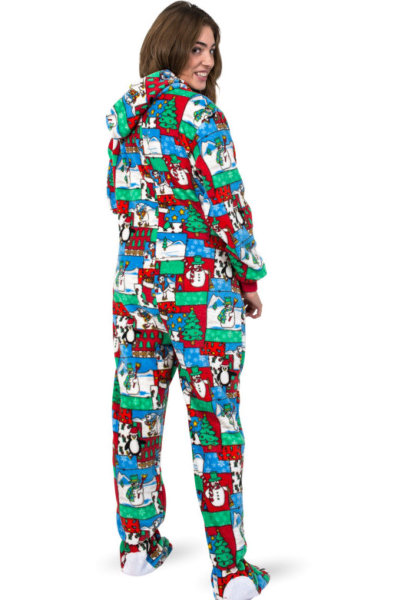 7b4a164136 Winter Fun Christmas Adult Footed Pajamas with Hood  Big Feet Onesie Footed  Pajamas