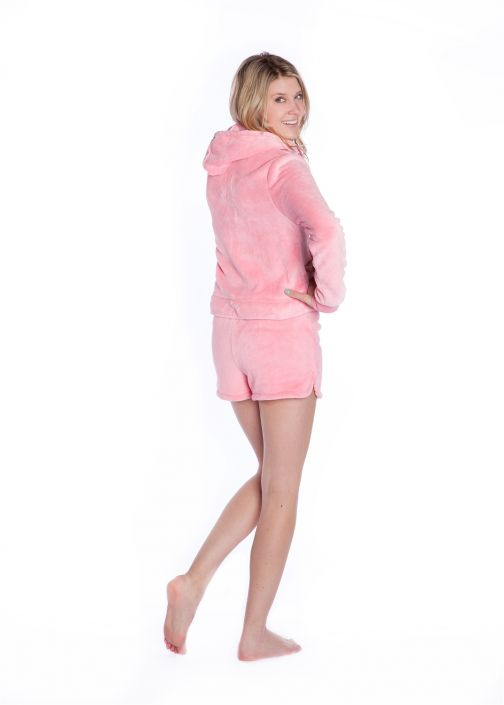 fa60d8f873d8 Plush Hoodie with Shorts Pink  Big Feet Onesie Footed Pajamas