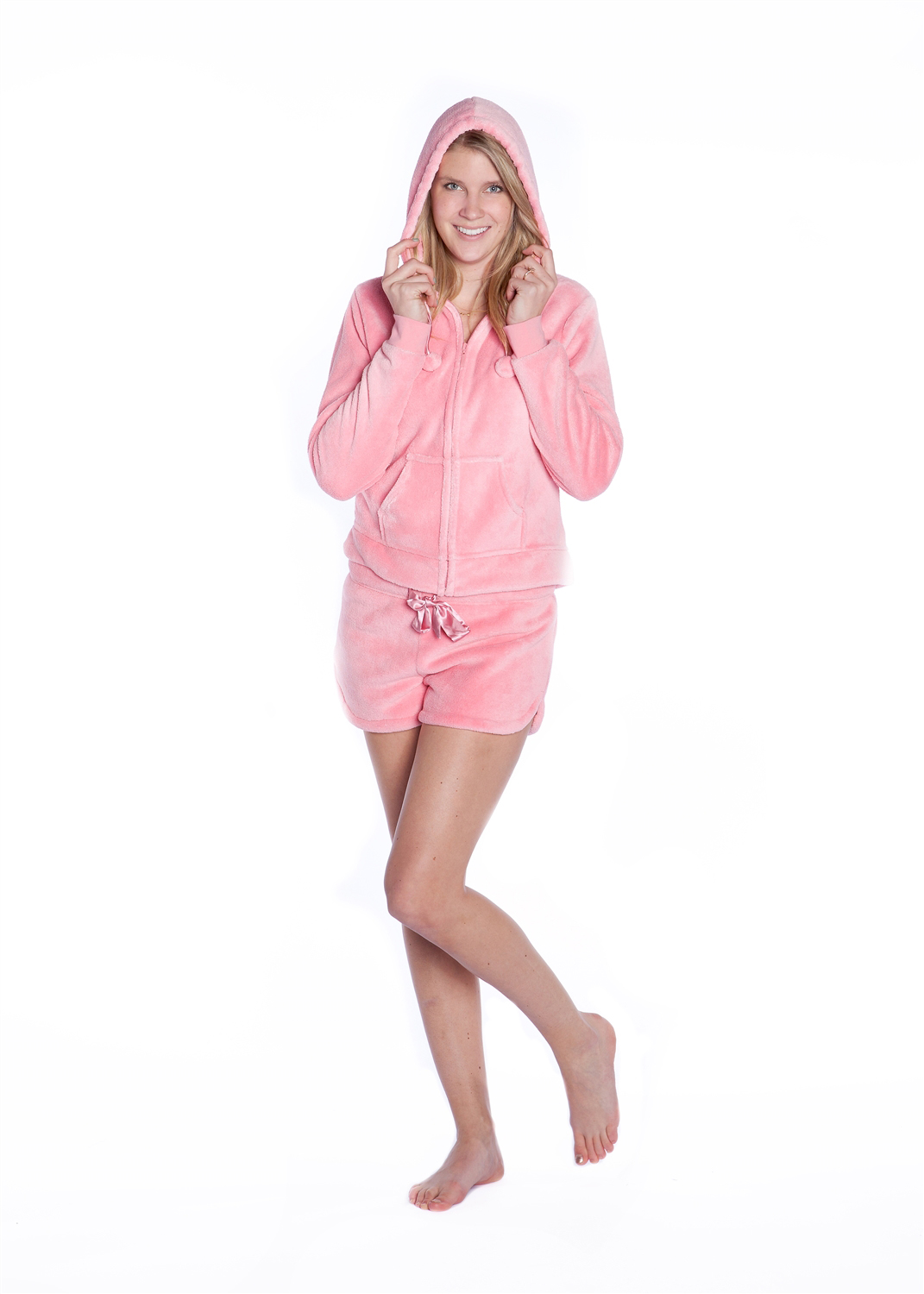 f37ca9119a Winter Fun Christmas Adult Footed Pajamas with Hood.  89.99 56.98. Plush  Hoodie with Shorts Pink