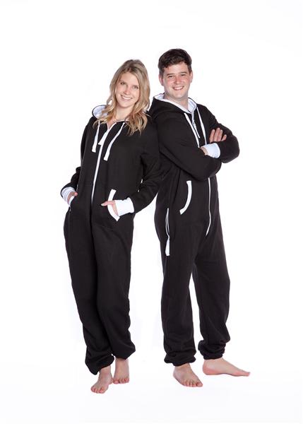 Hoodie One Piece Jumpsuit Black  Big Feet Onesie Footed Pajamas b16ecded3