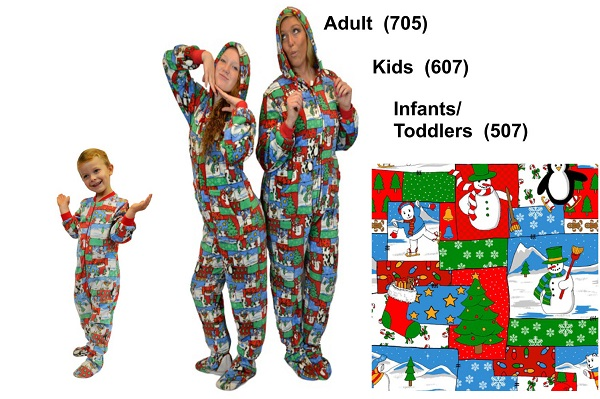 Matching Christmas Fleece Footed Pajamas Sets