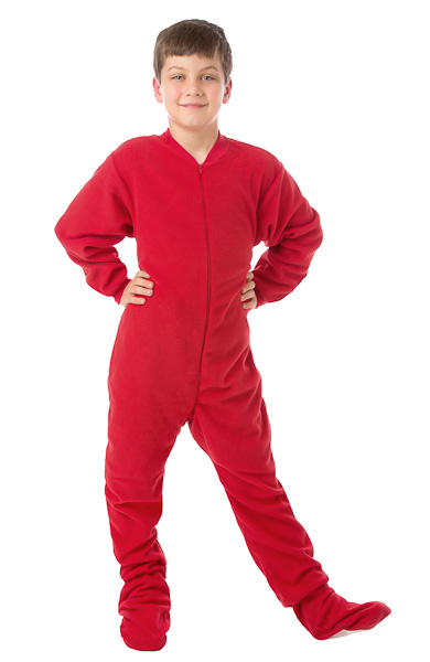 Boys & Girls Red Micro Polar Fleece Kids Footed Pajamas: Big Feet ...