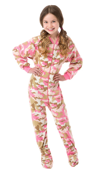 89c770cfbde0 Kids Pink Camouflage Fleece Onesie Footie Pajamas for Girls  Big Feet Onesie  Footed Pajamas