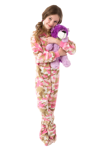 Infant   Toddler Pink Camouflage Fleece Onesie Footed Pajamas  Big Feet Onesie  Footed Pajamas 68a267836dea