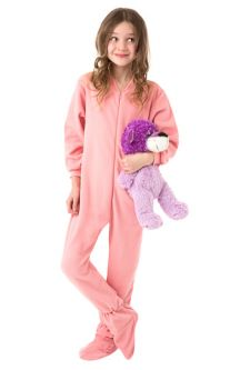 Matching Pink Footed Pajama Sets: Big Feet Footed Onesie Pajamas