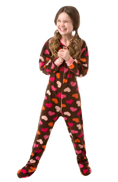 Infant Toddler Chocolate Brown W Hearts Fleece Pajamas