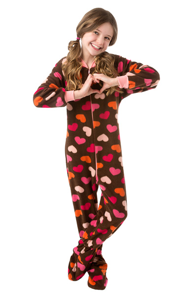 008f030910a1 Chocolate Brown with Colorful Hearts Fleece Onesie Footed Pajamas ...