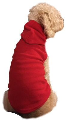 Pet Red Fleece Hoodie for Dogs & Cats  Sizes S - XL