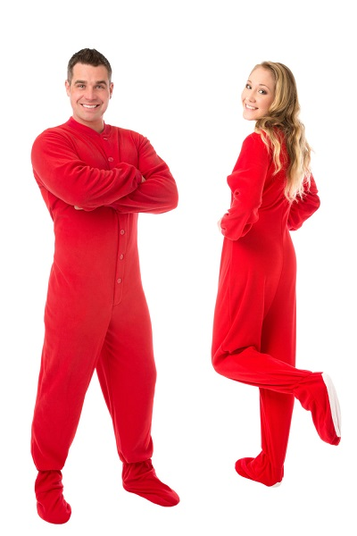 Micro Polar Fleece Adult Footed Pajamas In Red Big Feet