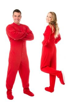 Matching Red Footed Pajamas Sets: Big Feet Footed Onesie Pajamas