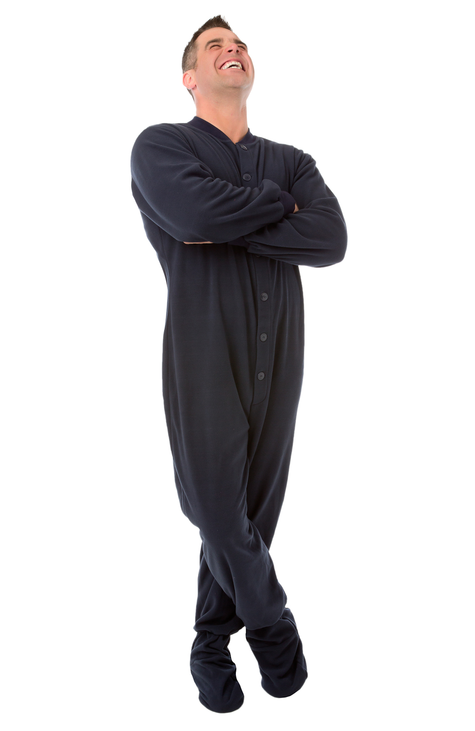 Navy Blue Fleece Adult Footed Pajamas With Drop Seat SIZES XS & S ...