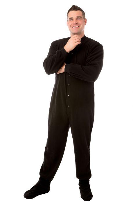 8698712c9 Big Feet PJs Black Micro polar Fleece Adult Footed Pajamas with Drop ...