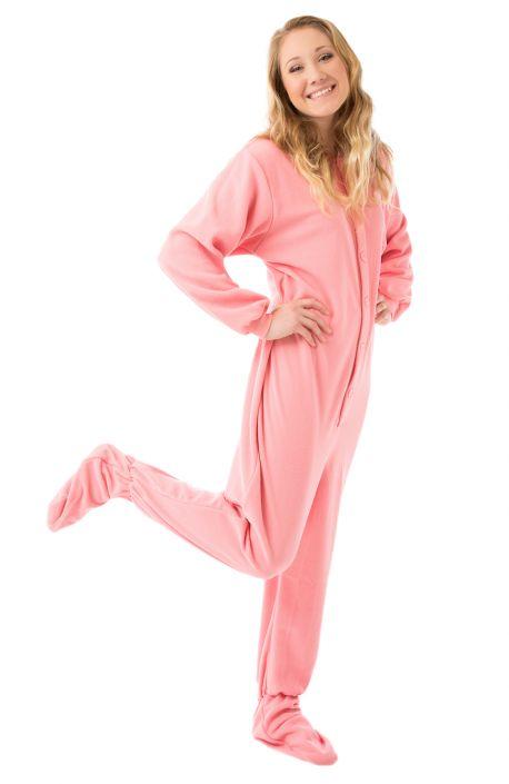 5a12c5fbda03 Pink Micro-Polar Fleece Adult Footed Pajamas  Big Feet Onesie Footed ...