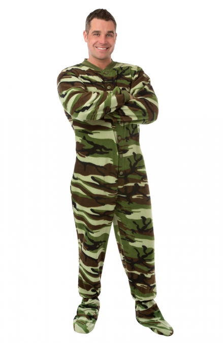 Mens Green Camouflage Fleece Adult Onesie Footed Pajamas with Drop Seat