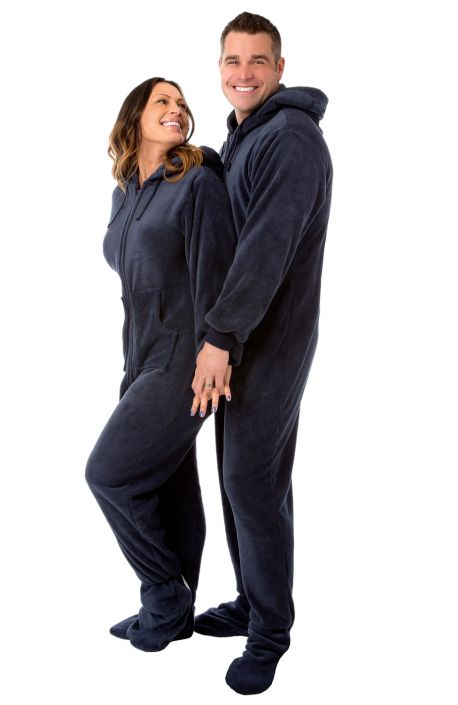 Navy Blue Hooded Plush Adult Mens Footed Pajamas Sleeper w  Drop ... a560c14b1
