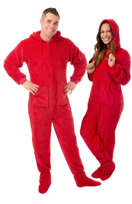 6b17d52268 Plush Adult Footed Pajamas with Hood in Red  Big Feet Onesie Footed Pajamas
