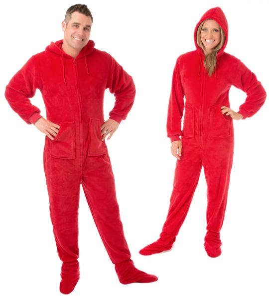 f97b44568a Hoodie Footed Sleeper Red Plush Drop Seat Footed Pajamas with Rear ...